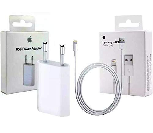 Kit Carregador Completo Iphone 5 Apple, Fonte + Cabo USB Lightning