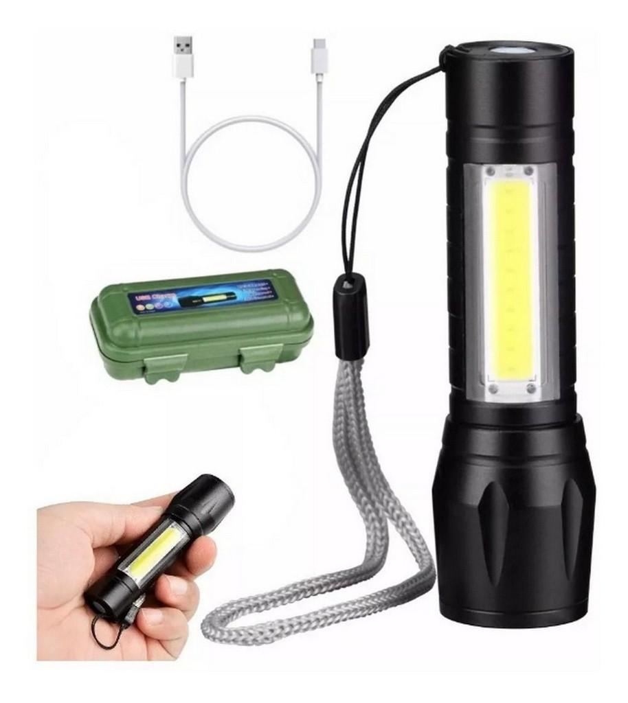 Mini Lanterna Tática Xpe Cob Led Flash de Luz 5.000 Lumens à Prova D'água - Carregamento USB