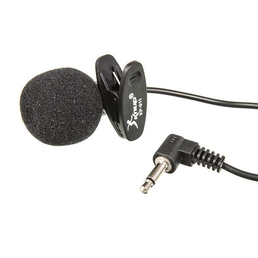 Mini Microfone Lapela Knup Kp-911 Stereo P2 3.5mm - Cabo de 1,5m