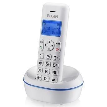 Telefone sem Fio TSF 5001 , Branco com Azul, Identificador de Chamadas, Agenda, Viva Voz, Localizador de Telefone, Baixo