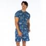 Bermuda Masculina Adulto Coqueiros em Fundo Azul