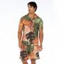 Bermuda Masculina Adulto Folhagens em Tons de Verde e Marrom