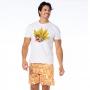 Bermuda Masculina Adulto Tucano e Folhas com Fundo Amarelo