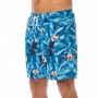 Bermuda Masculina Adulto Tucano e Folhas em Fundo Azul