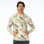 Blusão Masculino com Capuz  Maxi Folhagens com Fundo Bege