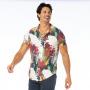 Camisa de Botão Adulto Arara Vermelha e Folhagens