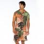 Camisa de Botão Adulto Folhagens em Tons de Verde e Marrom