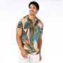 Camisa de Botão Adulto Folhas