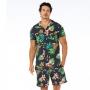Camisa de Botão Adulto Tucano com Flores em Fundo Preto