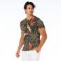 Camiseta Básica Adulto Arara e Folhagens Fundo Verde