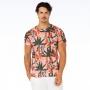 Camiseta Básica Adulto Arara e Folhas com Fundo Rosa