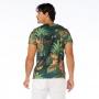 Camiseta Básica Adulto Folhagens e Tartaruga em Fundo Azul