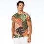 Camiseta Básica Adulto Folhagens em Tons de Verde e Marrom