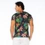 Camiseta Básica Adulto Tucano com Flores em Fundo Preto