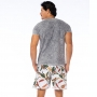 Camiseta de Algodão Estonada Chumbo Folhas Coloridas
