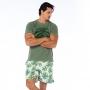 Camiseta de Algodão Estonada Verde Folha
