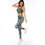 Top Fitness Feminino Folhagens Verde e Marrom