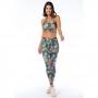 Top Fitness Feminino Araras Vermelha com Flores e Folhas