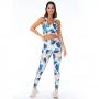 Top Fitness Feminino Arara Azul com Folhas