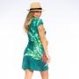 Vestido Curto Vanilla Onças  Flores e Folhas Fundo Verde Água
