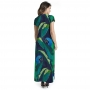 Vestido Longo Jeri Arara e Folhas com Fundo Azul