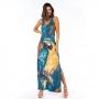 Vestido Longo Tulipa Arara Azul e Folhas