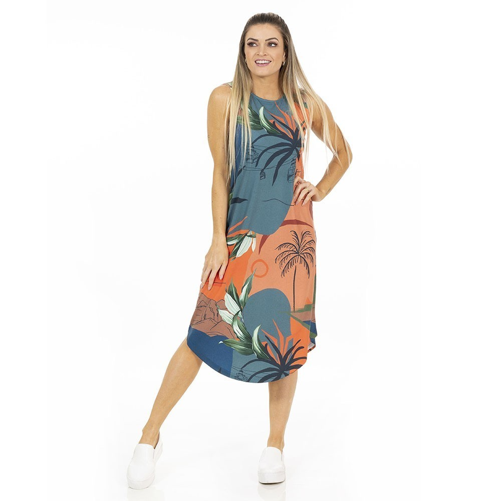 Vestido Adulto Midi Tropical