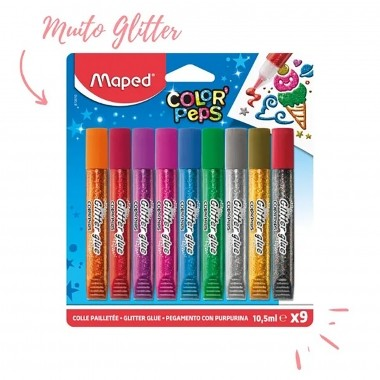 Cola Glitter Color Peps Blister 9 Cores - Maped