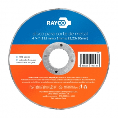 Disco Corte Ferro/Inox 115mm 22,23mm (7/8) Rayco