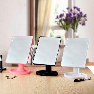 Espelho De Mesa Para Maquiagem Giratório Com LED - BF BRASIL