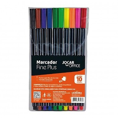 Kit 10 Cores Marcador Fine Plus - Leonora