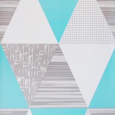 Papel De Parede 45x200cm Triângulos Azul/Cinza