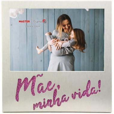 Porta Retrato De Metal Mãe Vida 10 X 15cm - Rio Master Prata
