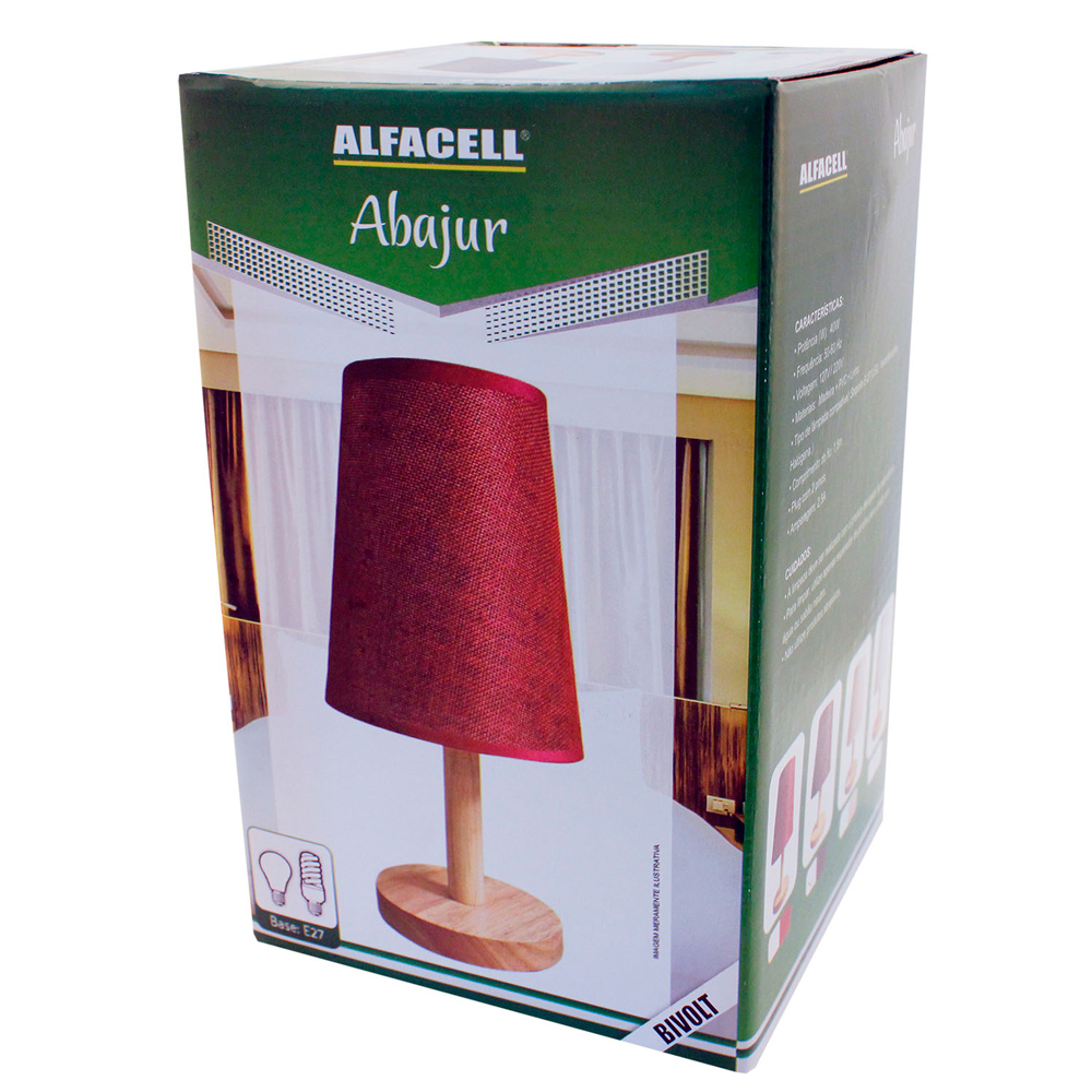 Abajur Bivolt Para Lâmpada De 40w  - Alfacell Vermelho