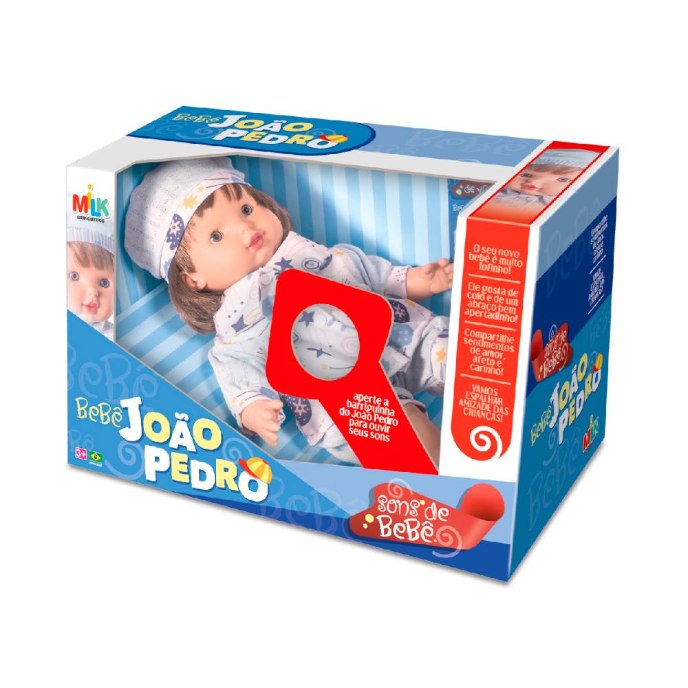 Boneco João Pedro Sons Bebê Milk