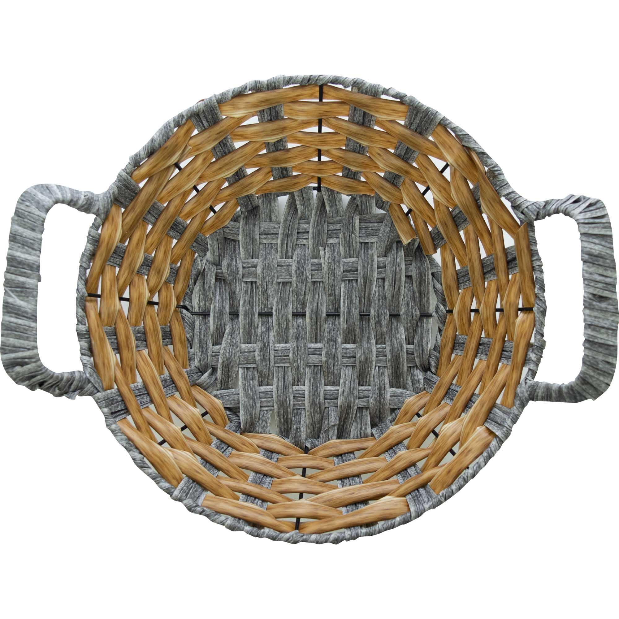 Cesta De Pão Redonda 25x25cm - Yin's Home Cinza E Bege