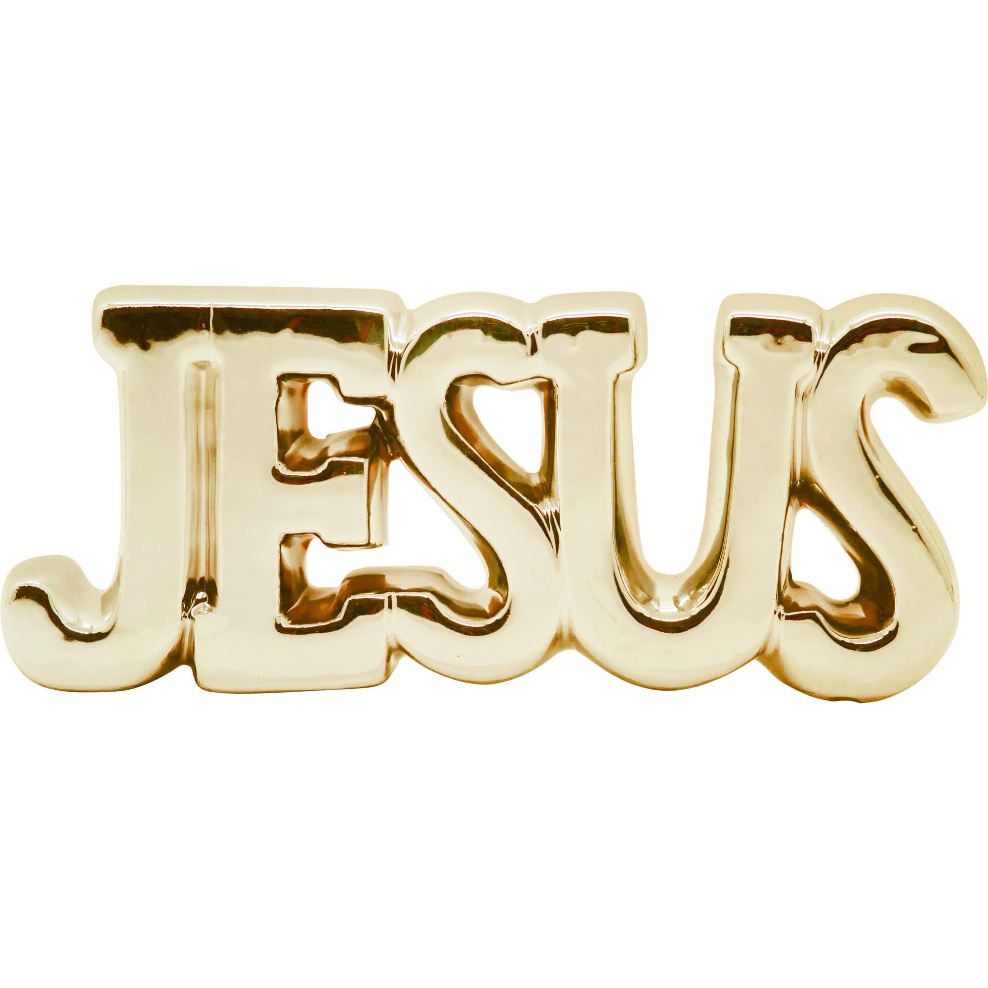 ENFEITE DE MESA CERÂMICA JESUS SHINING - YIN'S HOME DOURADO