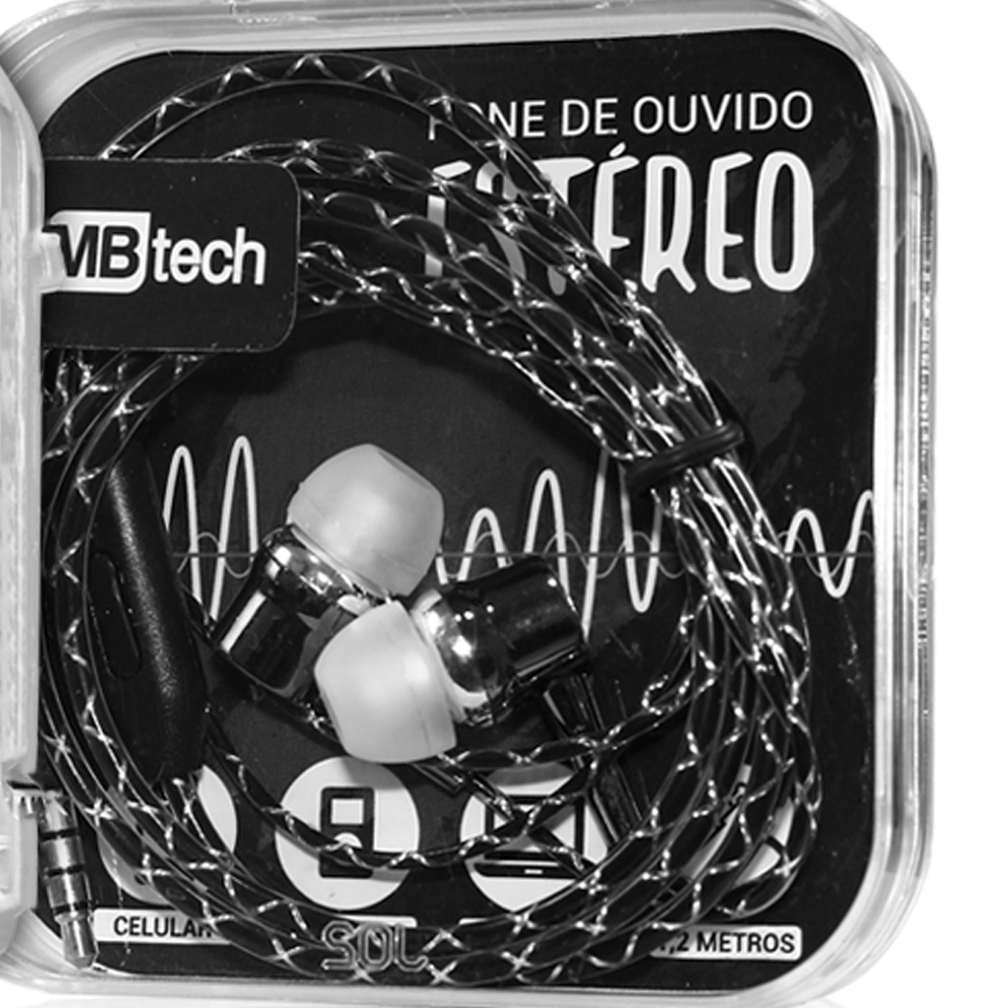 FONE DE OUVIDO ESTÉREO COM MICROFONE PRETO - MBTECH