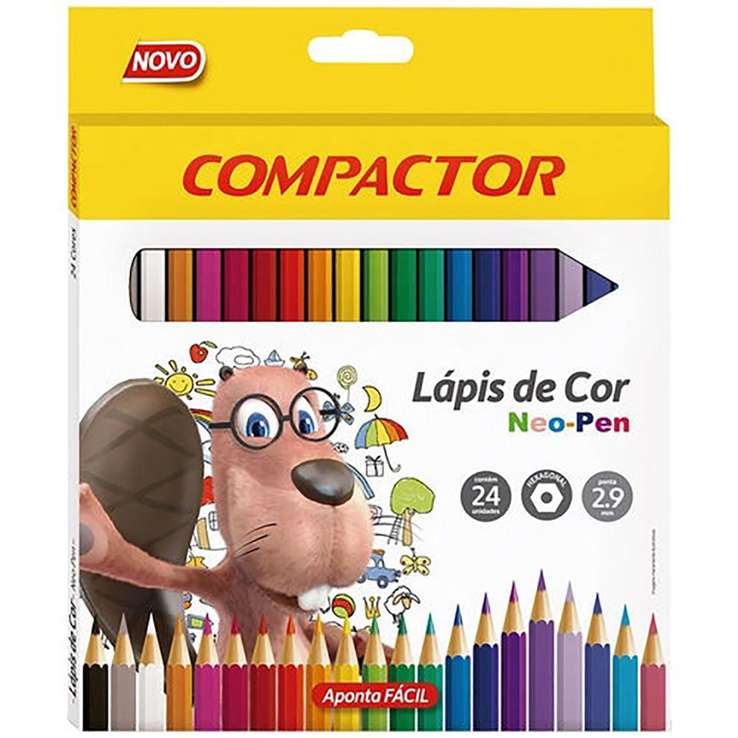 Lapis De Cor Neo Pen Madeira 2,9mm Com 24 Cores - Compactor
