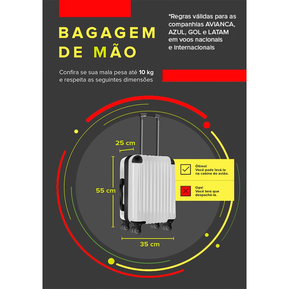 Mala  Para Viagem ABS Infantil 16 Roxo Com  Roda 360 - YINS