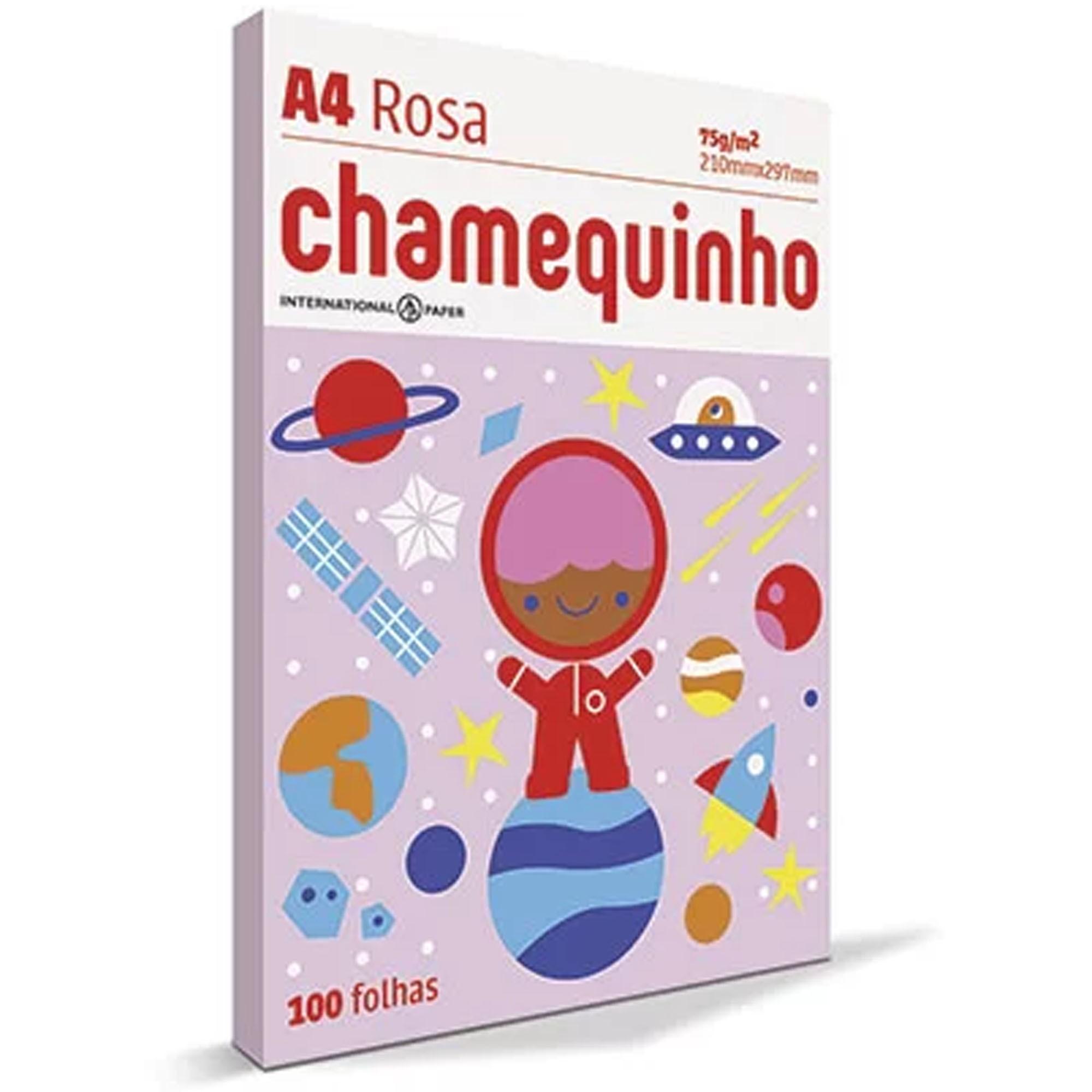 PAPEL SULFITE A4 75G 100 FOLHAS - CHAMEQUINHO ROSA