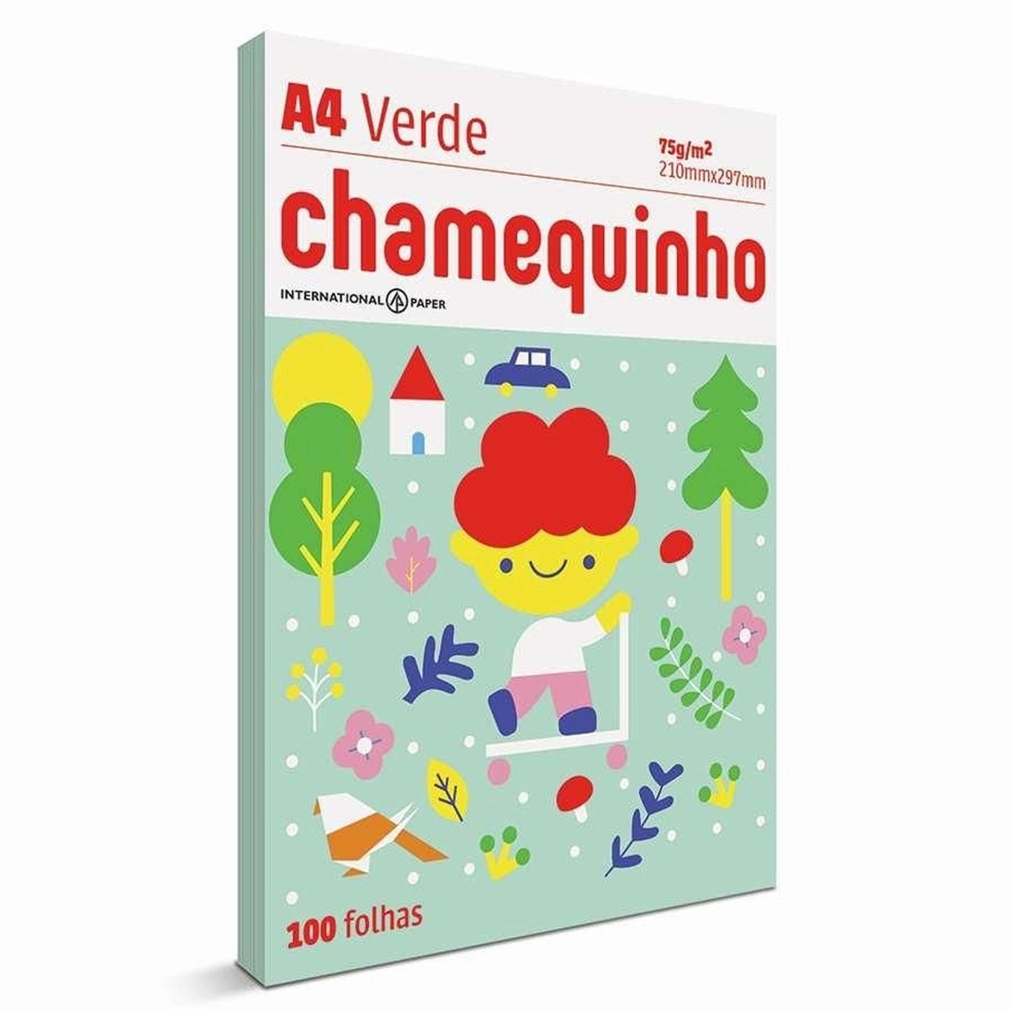 PAPEL SULFITE A4 75G 100 FOLHAS - CHAMEQUINHO VERDE
