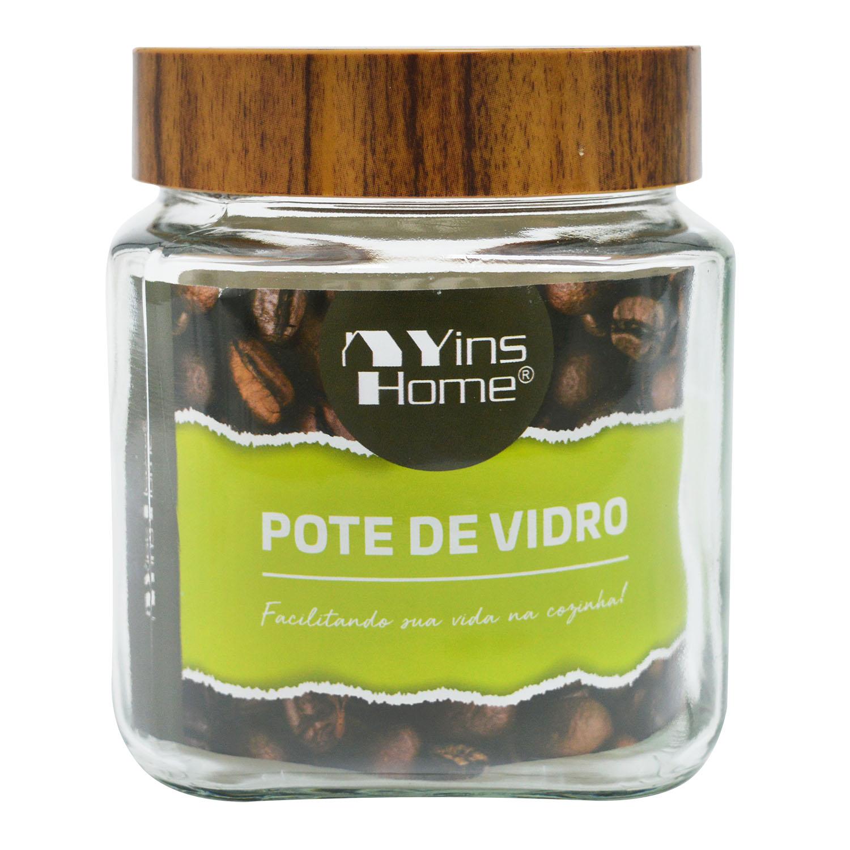 POTE DE VIDRO QUADRADO COM TAMPA 1LT - YIN'S HOME