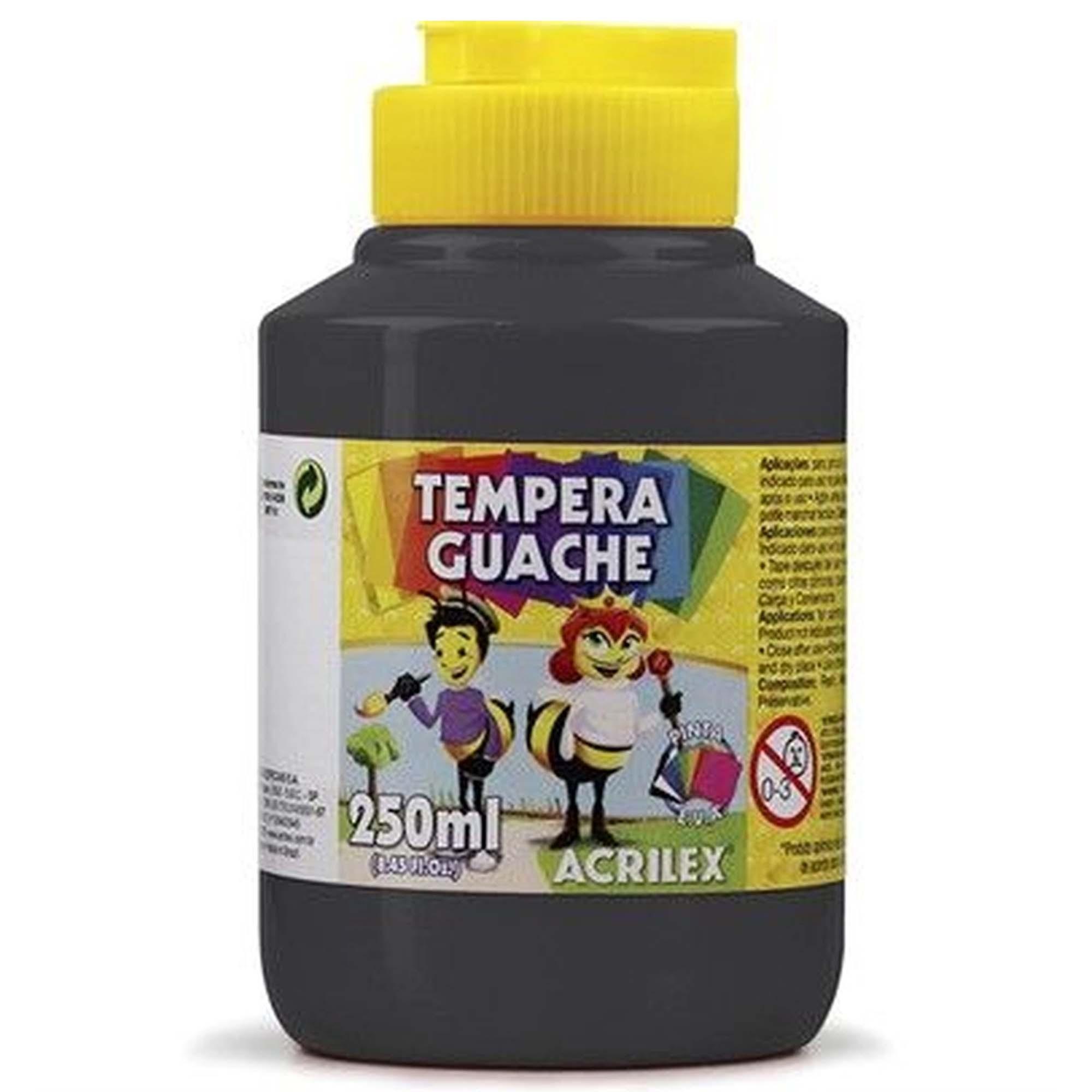 TEMPERA GUACHE 250ML - ACRILEX PRETO