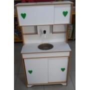 Bancada de Cozinha com Pia que sai Água de Verdade Verde em Madeira para Casinha Infantil