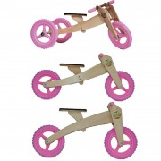 Bicicleta de Madeira 03 em 01 Woodbike Rosa