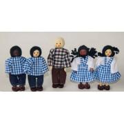 Boneco de Madeira Miniatura para Casinha de Boneca Kit Bonecos para Escola