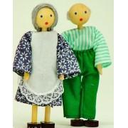 Bonecos de Madeira Miniatura para Casinha de Boneca  Kit Bonecos Avôs