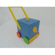 Brinquedo de Madeira Carrinho Sorveteiro para Empurrar Cores Sortidas