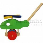 Brinquedo de Madeira de empurrar Helicóptero Rola